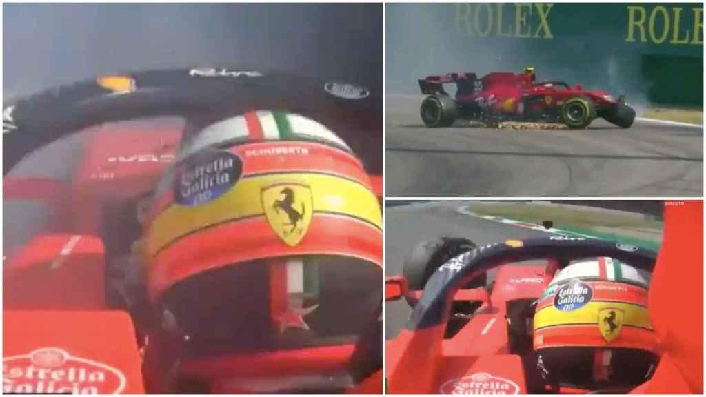 El duro accidente de Carlos Sainz contra el muro que provocó la bandera roja en Monza