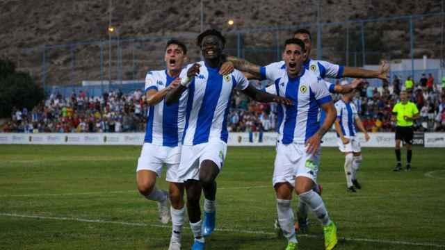 Celebración del gol de la victoria del Hércules ante el Intercity.
