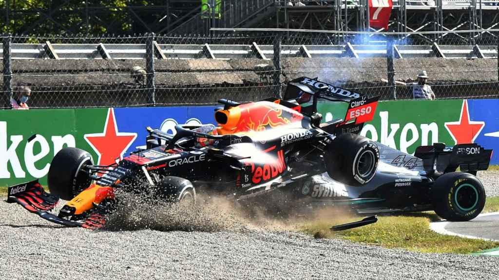 El accidente entre Verstappen y Hamilton