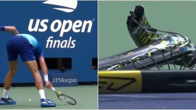 Djokovic vuelve a las andadas: así destrozó su raqueta en la final del US Open ante Medvedev