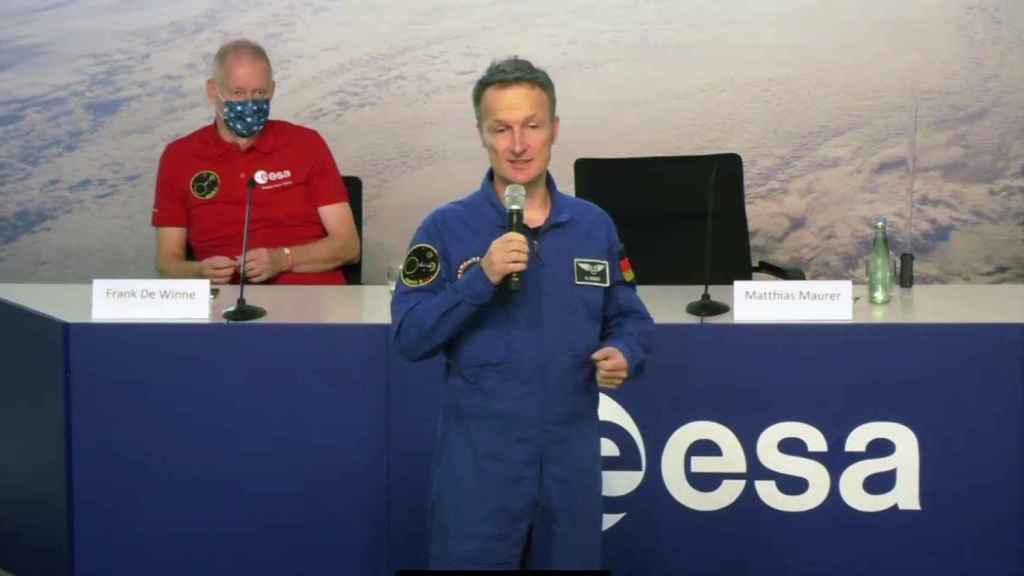 Matthias Maurer durante su comparecencia en el Centro Europeo de Astronautas de la ESA.