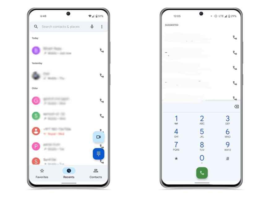 App teléfono con Material You