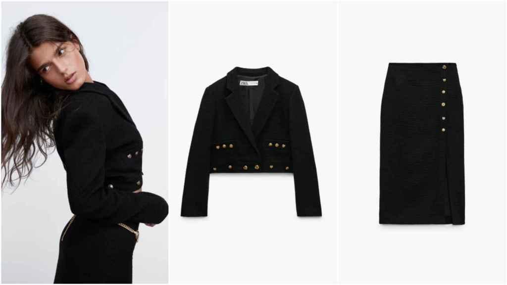 La modelo luce el dos piezas en negro con botones dorados de la última colección de Zara.
