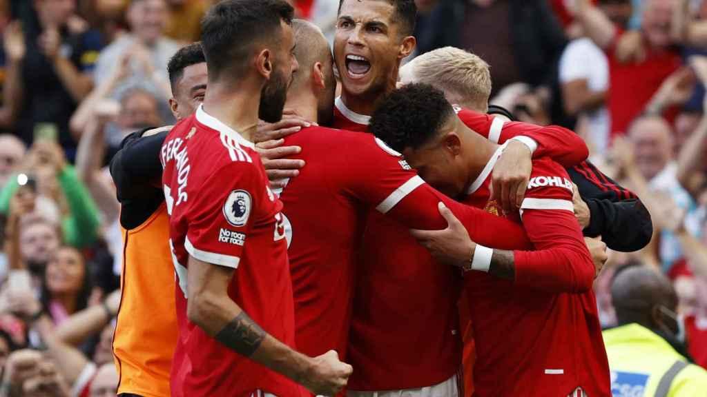 Cristiano Ronaldo celebra uno de sus goles junto a sus compañeros