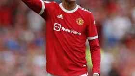 Cristiano Ronaldo, en un partido del Manchester United en la temporada 2021/2022
