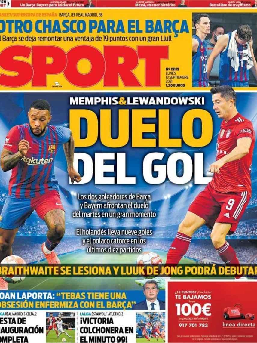 La portada del diario SPORT (13/09/2021)