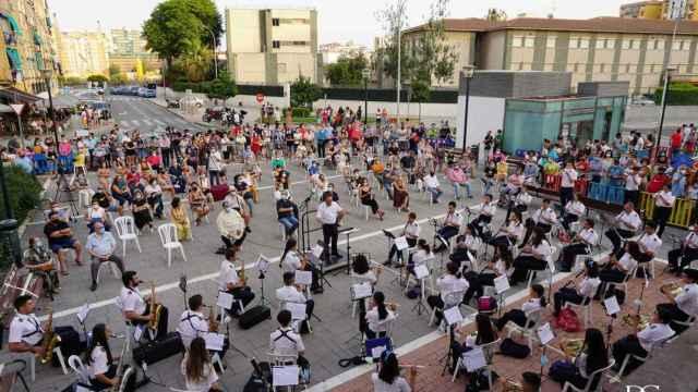 La banda de música de la Cruz del Humilladero en un concierto.