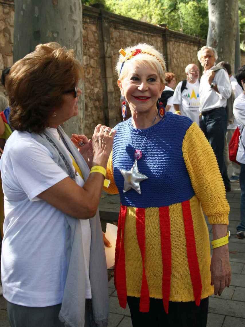 La periodista en el Día de la Diada en Barcelona.