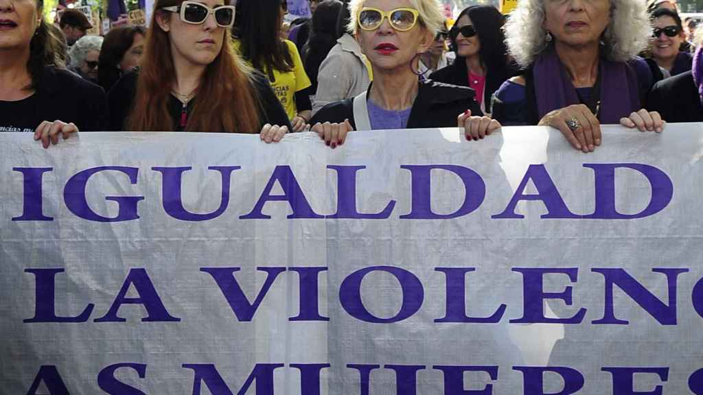 La periodista en una manifestación contra la violencia machista.