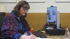 Archivo - Nuria Duque durante una reunión telemática en su despacho el pasado mes de febrero