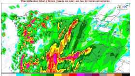Mapa elaborado por la Aemet sobre la previsión de lluvias para la tarde-noche de este martes en CyL
