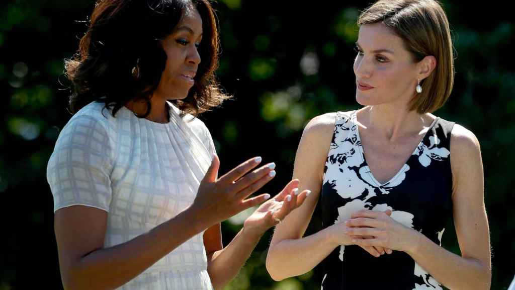 Letizia y Michelle y Obama en Washington el 15 de septiembre de 2015.