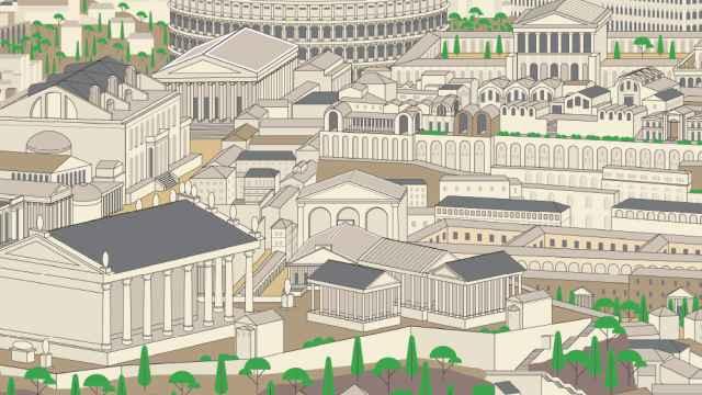 Ilustración de la ciudad de Roma en base a una maqueta del siglo IV d.C.