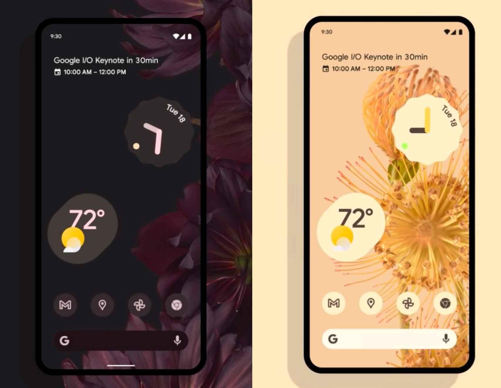 Widgetdel tiempo de Android 12 en el Google I/O