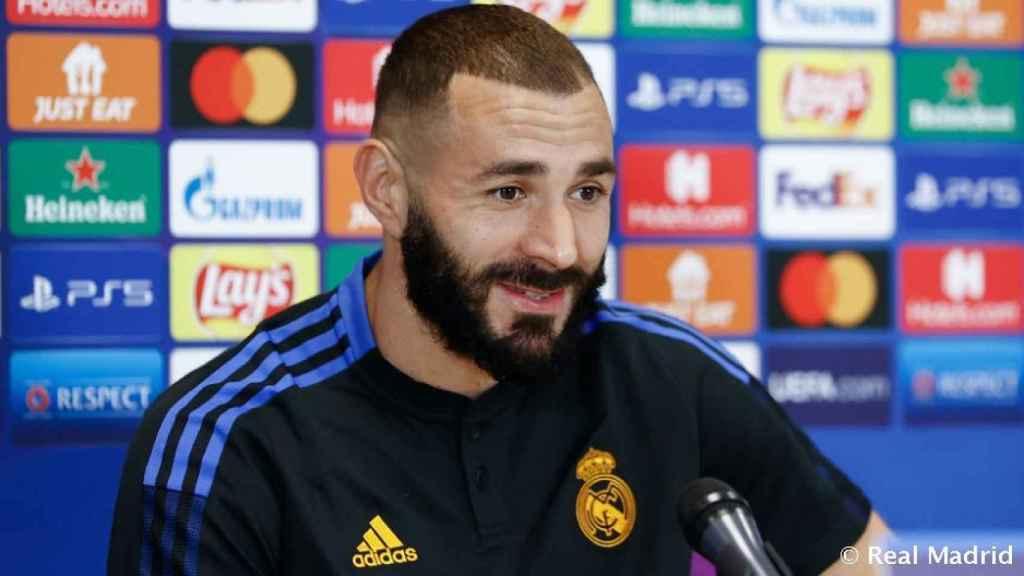 Karim Benzema, en rueda de prensa de la Champions League