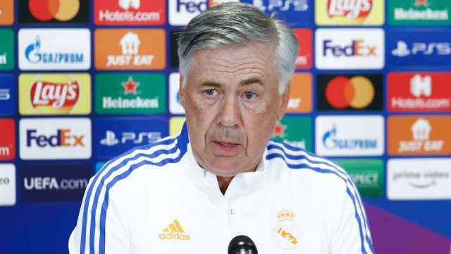 Carlo Ancelotti, en rueda de prensa de la Champions League