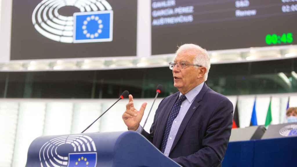 El jefe de la diplomacia de la UE, Josep Borrell, durante el debate este martes en la Eurocámara