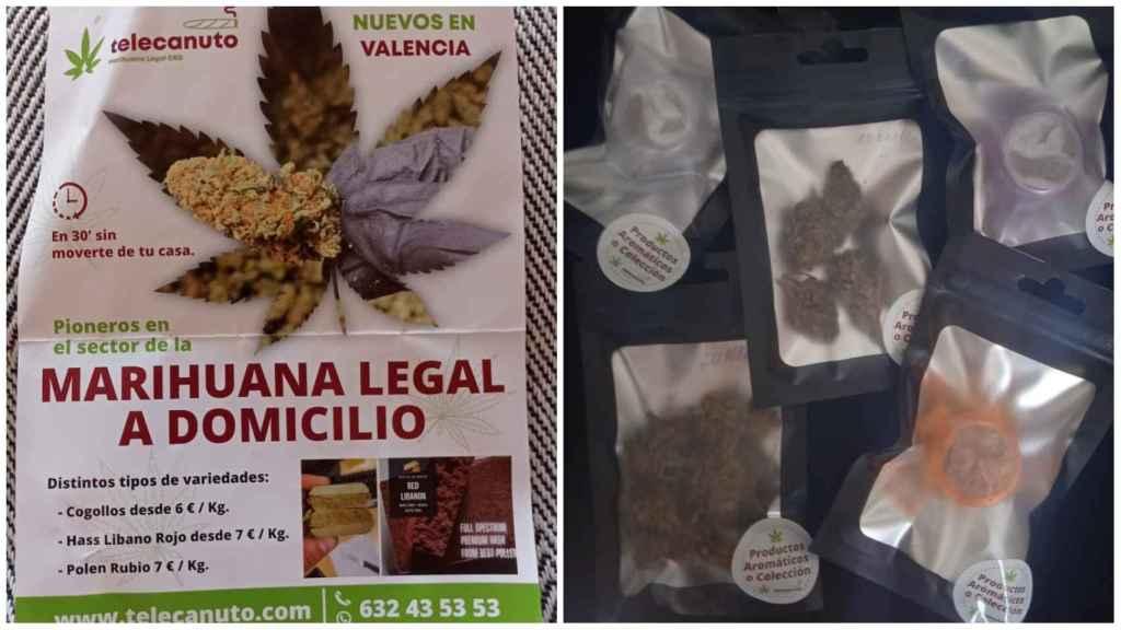 Publicidad y productos de Telecanuto, la empresa que envía en Valencia marihuana legal a domicilio. EE