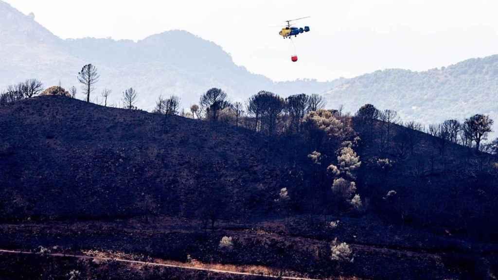 Helicóptero contra incendio en la zonas quemadas por el incendio de Sierra Bermeja.