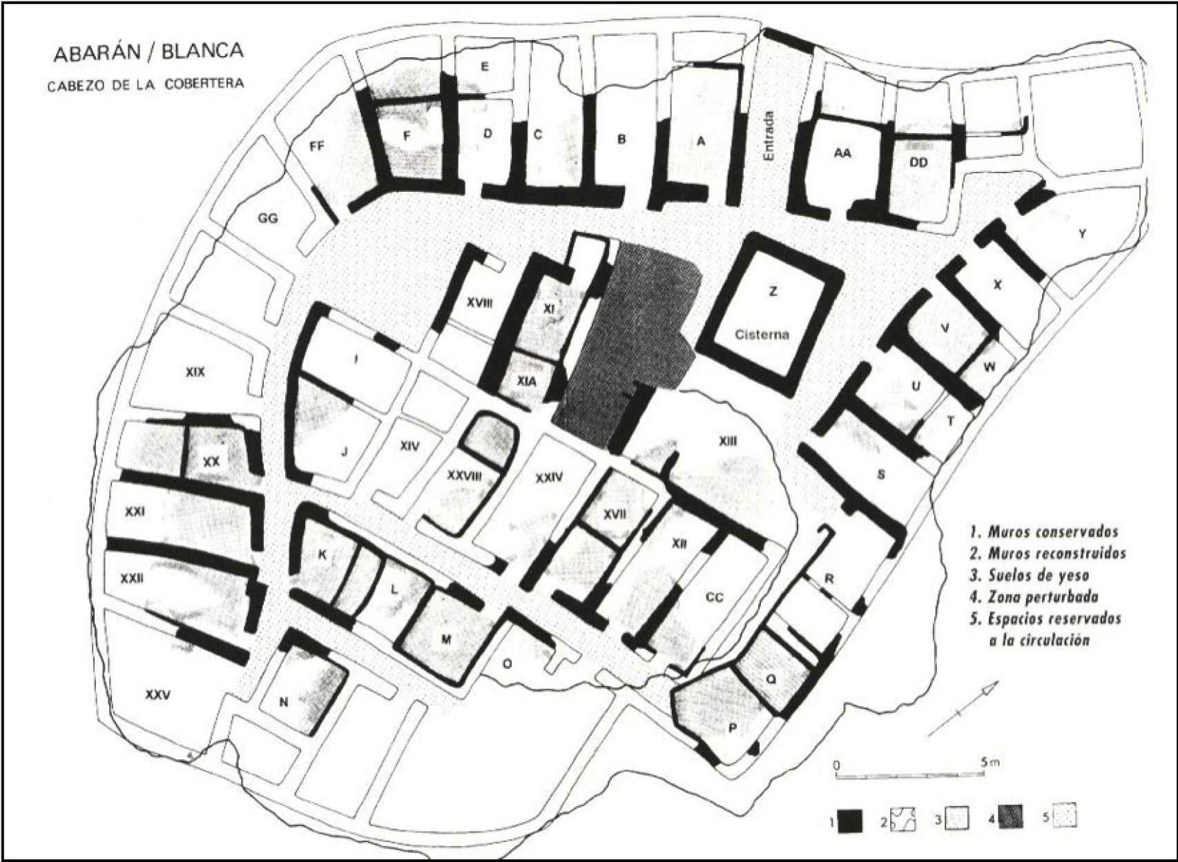 Plano realizado durante las excavaciones en el sitio.