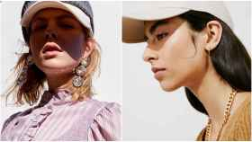 A la izquierda, un ejemplo de pendientes XXL; y a la derecha, una opción más minimalista.