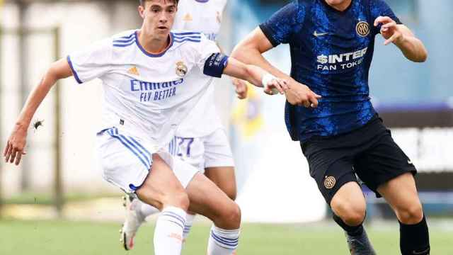 Bruno Iglesias y Rafel Obrador, en el partido frente al Inter de la Youth League