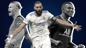 Haaland, Benzema y Mbappé