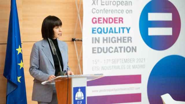 La ministra de Ciencia e Innovación, Diana Morant, durante la inauguración de la XI European Conference on Gender Equality in Higher Education