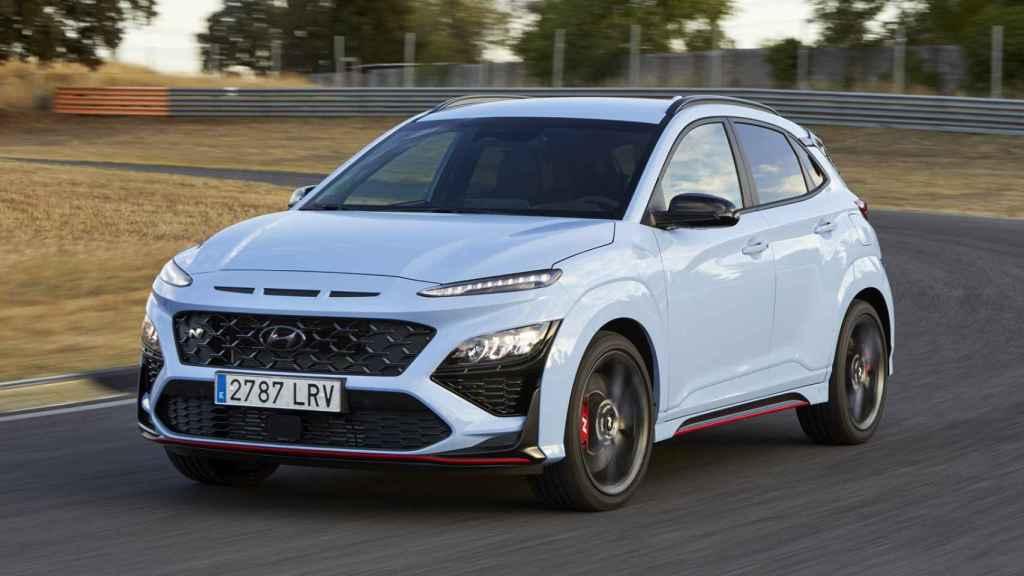 El Hyundai Kona N, el SUV deportivo en el circuito del Jarama, en Madrid.