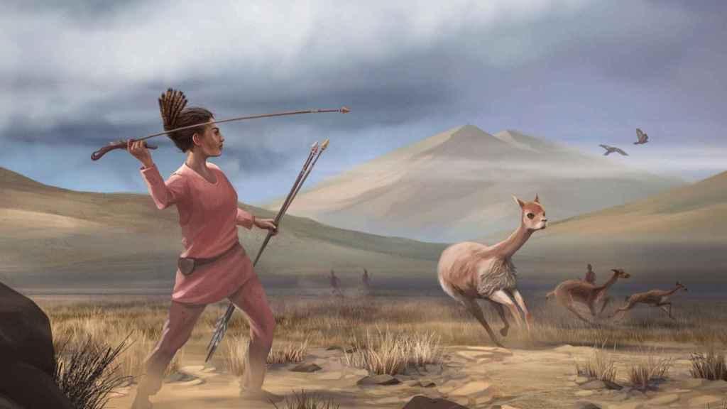 Ilustración de una mujer andina prehistórica cazando animales.