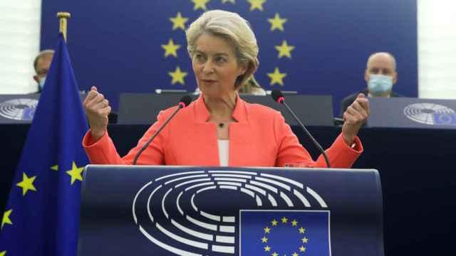 La presidenta Von der Leyen, durante el discurso sobre el estado de la Unión de este miércoles