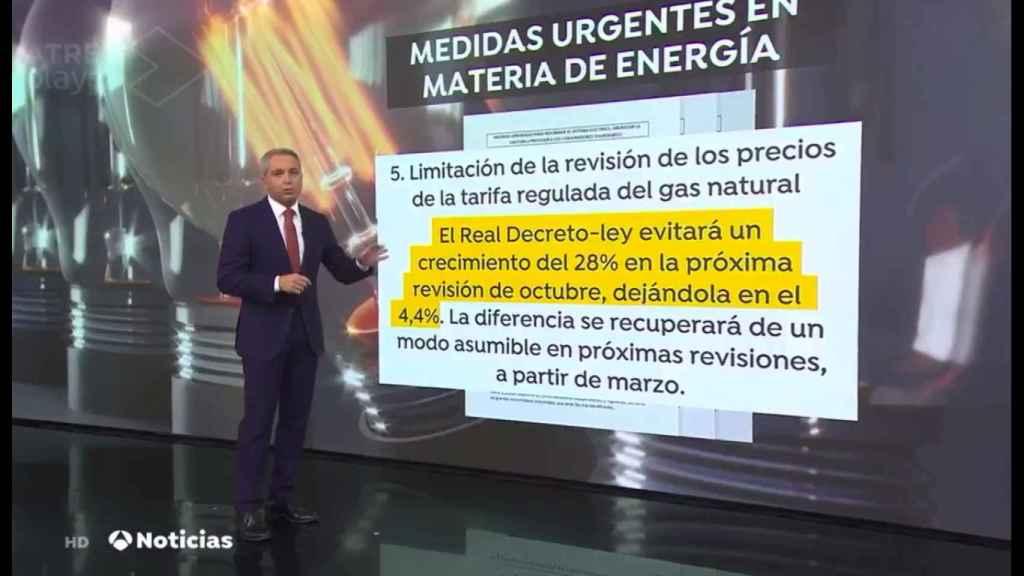 Vicente Vallés en el informativo de este martes.