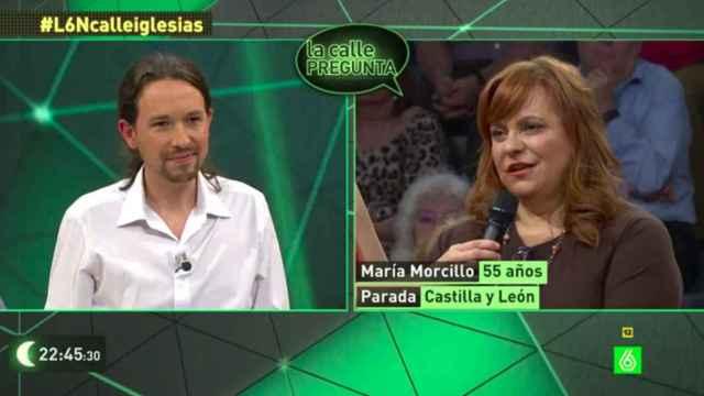 Pablo Iglesias contestando a la pregunta de María en 'La Sexta Noche'.