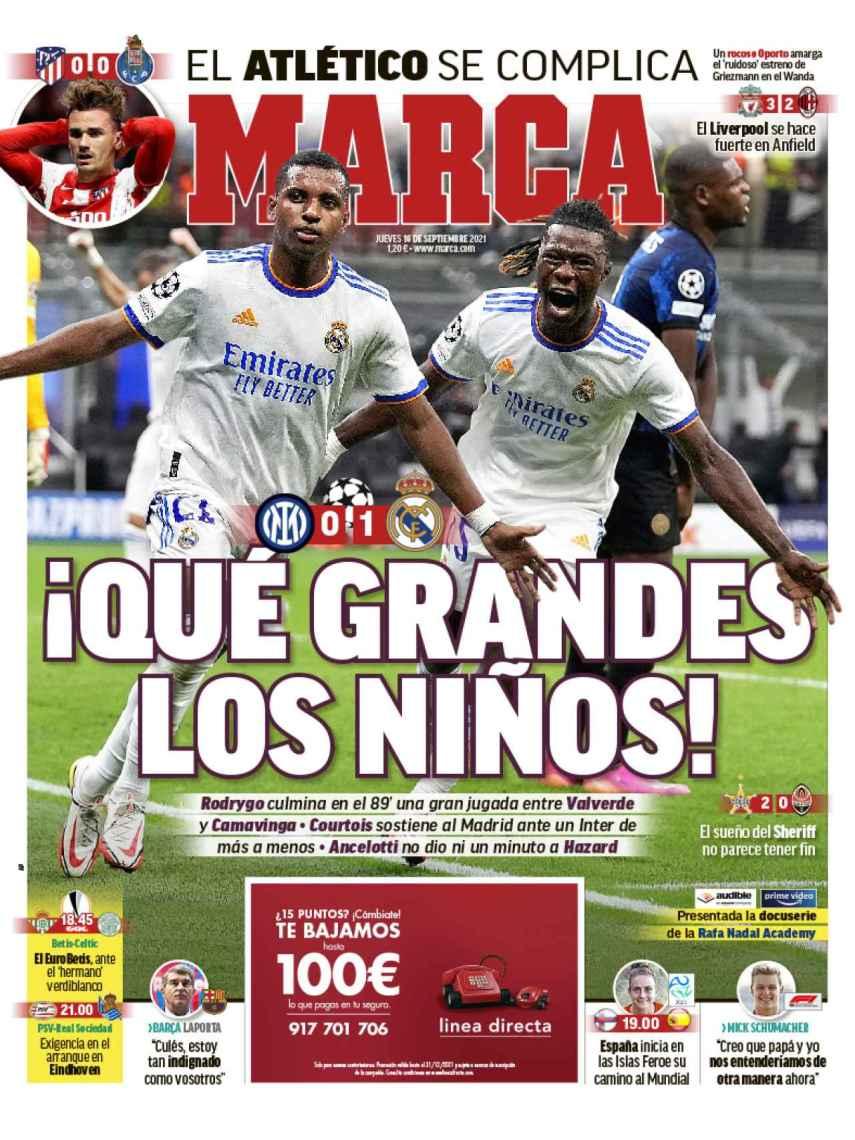 La portada del diario MARCA (16/09/2021)