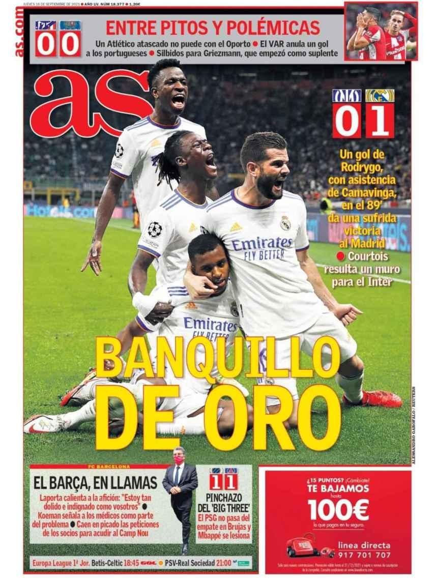 La portada del diario AS (16/09/2021)