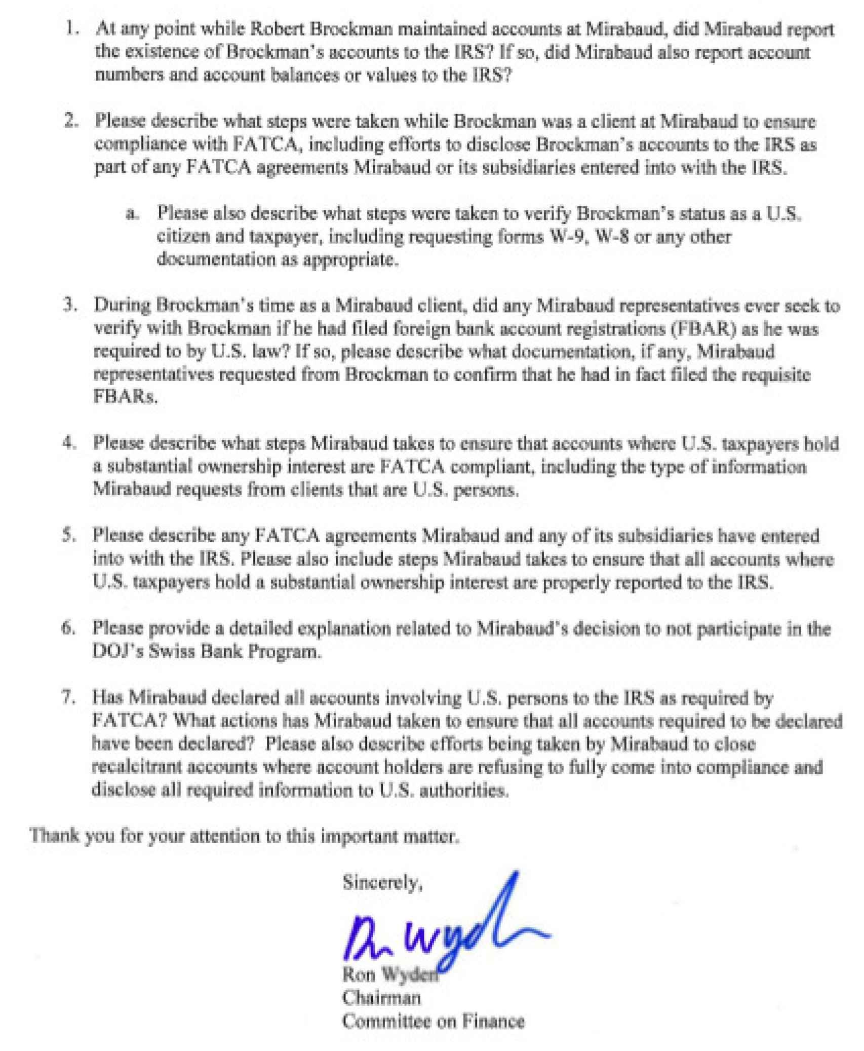 Las siete preguntas del Comité de Finanzas del Senado de EEUU a Yves Mirabaud.