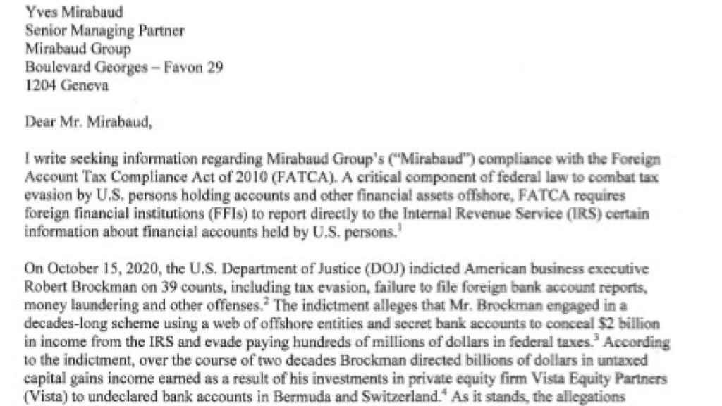 Encabezado de la misiva del Comité de Finanzas del Senado de EEUU a Yves Mirabaud.