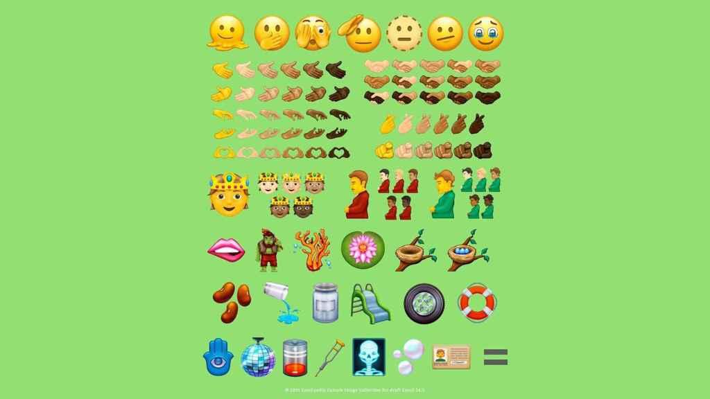 Sample de emojis que veremos en Unicode 14.0.