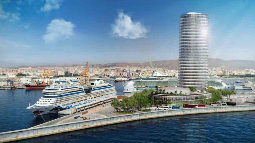 Torre del puerto de Málaga.
