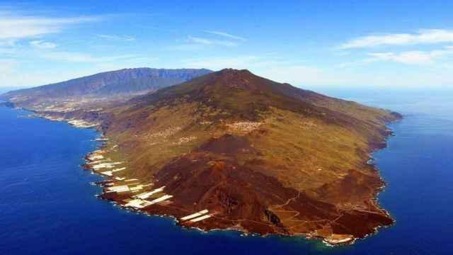 Vista aérea del volcán Cumbre Vieja, en la isla de La Palma.