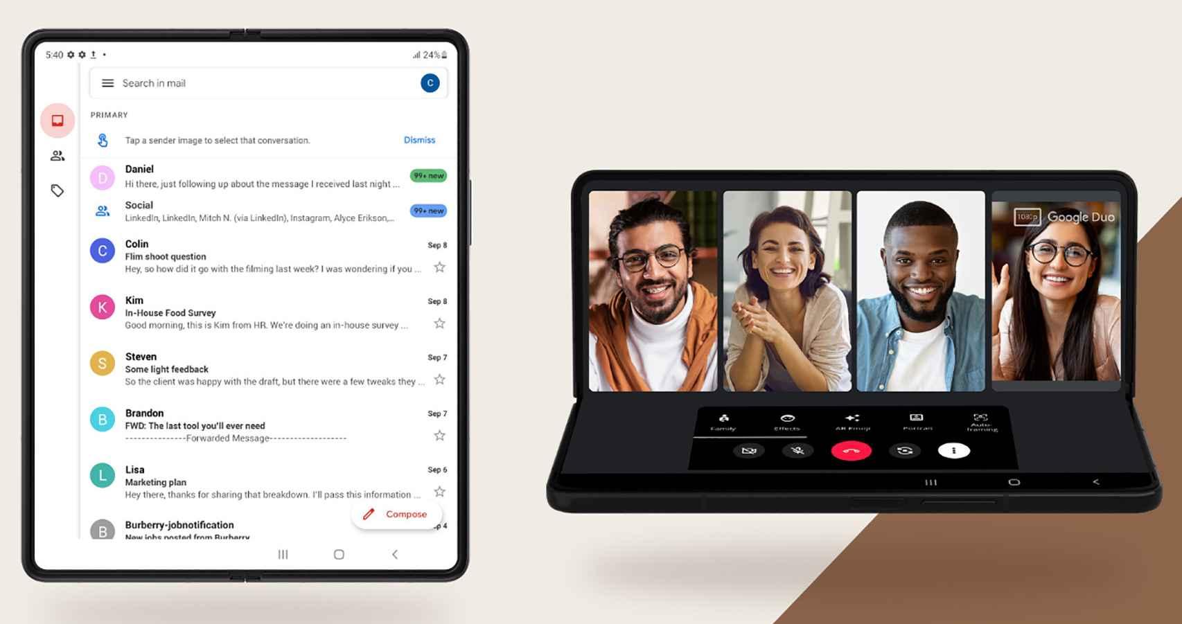Gmail y Duo en los plegables de Samsung