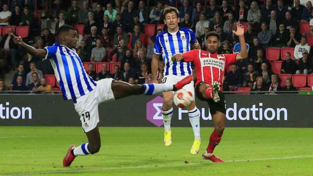 Aleksander Isak, en el PSV - Real Sociedad de la Europa League 2021/2022