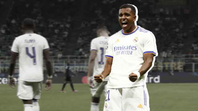 Rodrygo celebra un gol en Champions