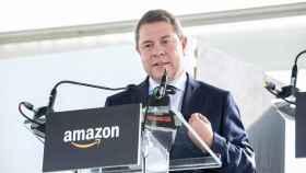 El presidente de Castilla-La Mancha, Emiliano García-Page, este jueves en un acto de Amazon en Illescas (Toledo)