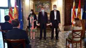 Mónica Oltra, Ximo Puig y Héctor Illueca. EE