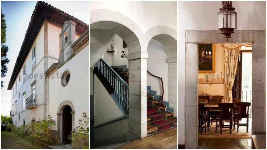 Fachada lateral, escaleras de mármol y una de las puertas hacia uno de los cinco salones de la casona.