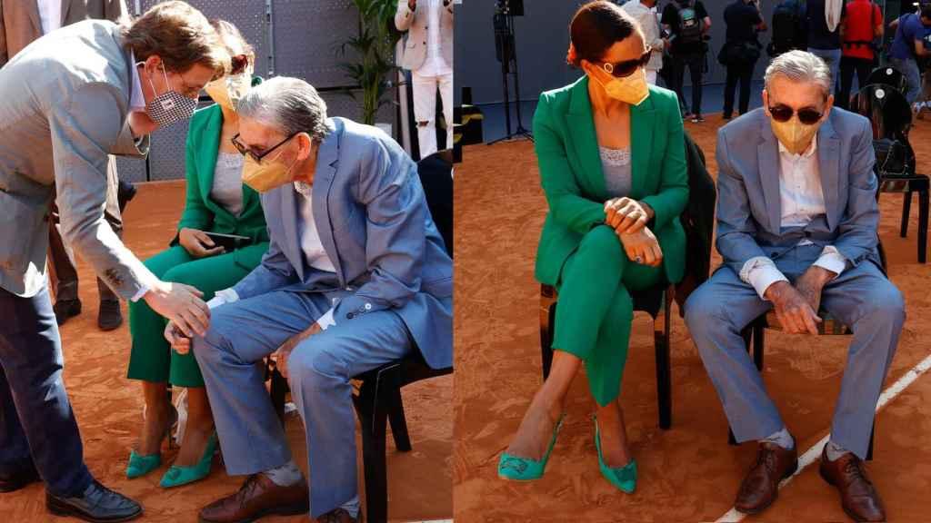 Santana saludando a José Luis Martínez-Almeida y en compañía de su mujer en montaje de JALEOS.