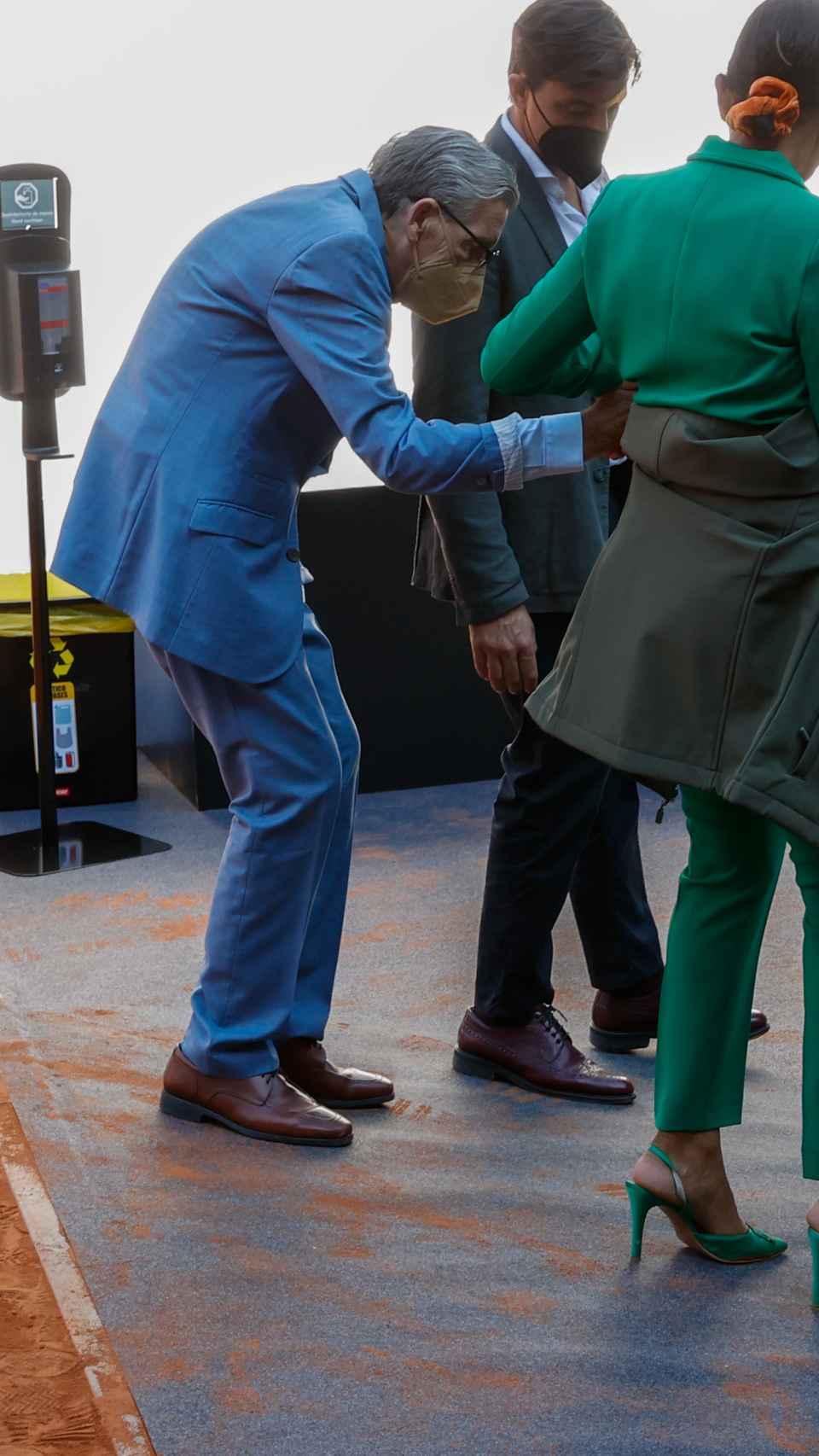 Manolo Santana a su llegada a la Mutua Madrid Open.
