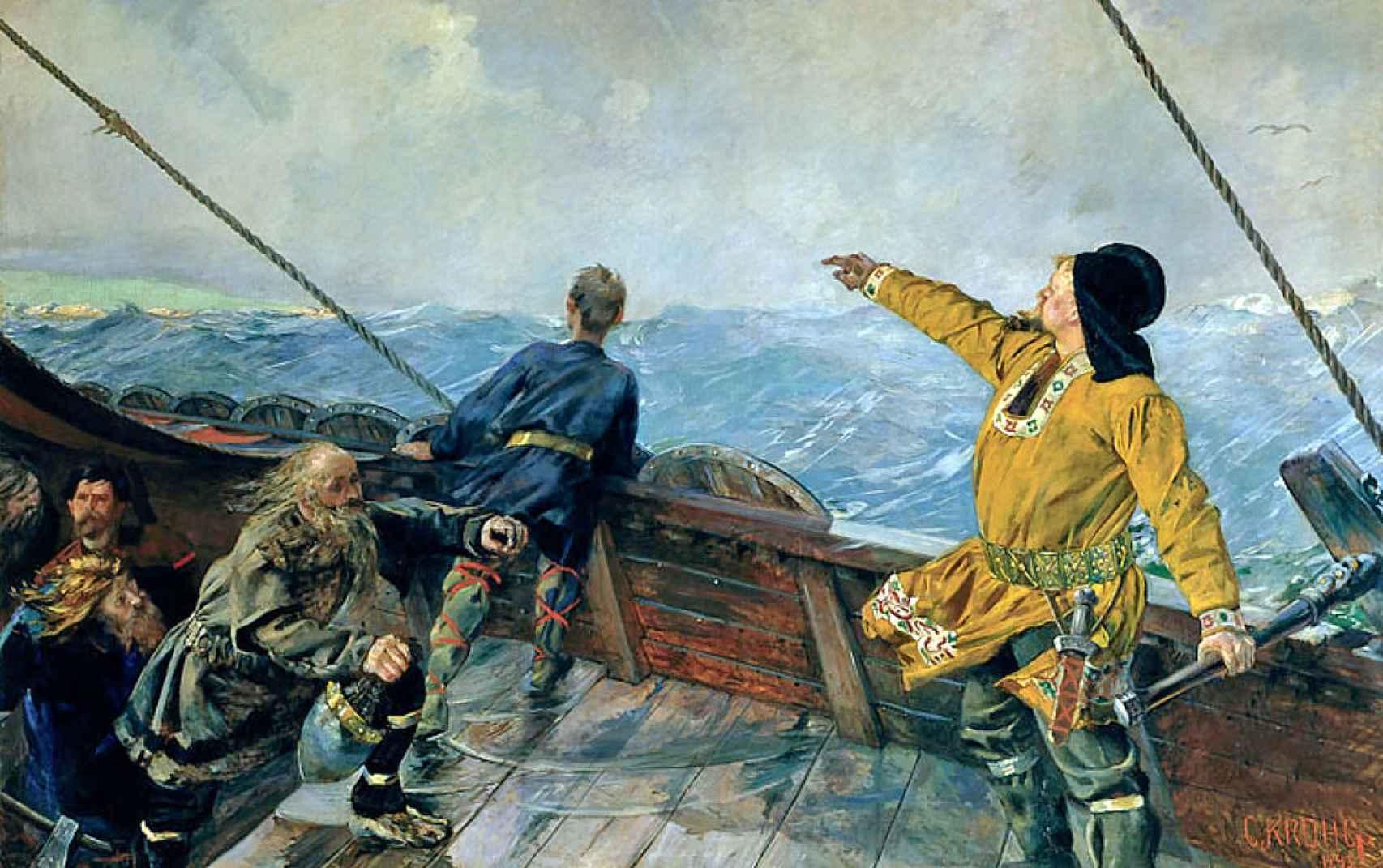 'Leif Erikson descubre América', por Christian Krohg (1893).