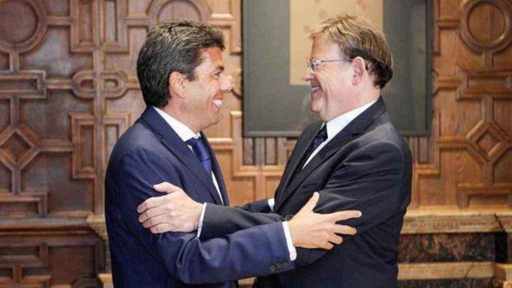 Carlos Mazón y Ximo Puig, en el Palau de la Generalitat Valenciana. EE
